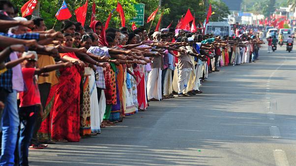 Cadena humana en Kerala