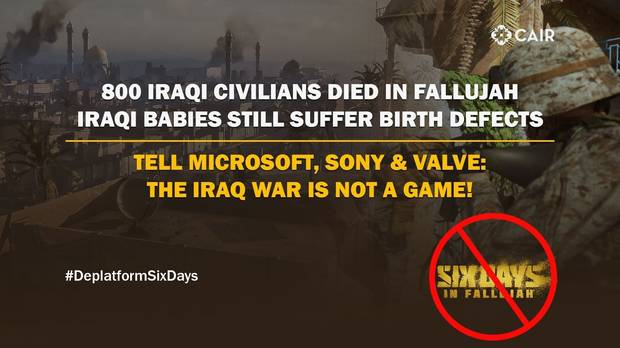 cartel del CAIR contra el videojuego The Six Days in Fallujah