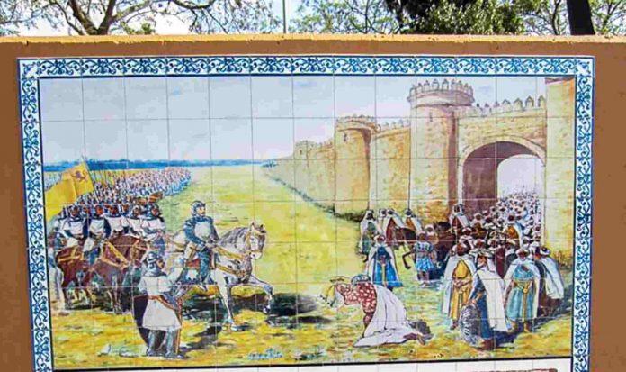 Mural sobre la conquista de Badajoz