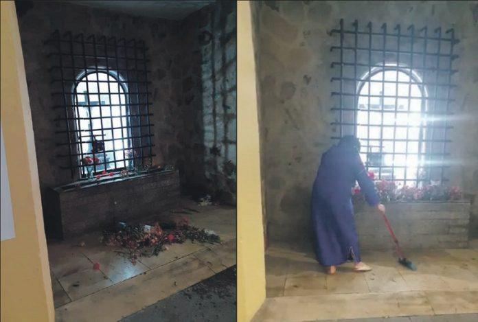 Musulmana ceutí limpia santuario católico